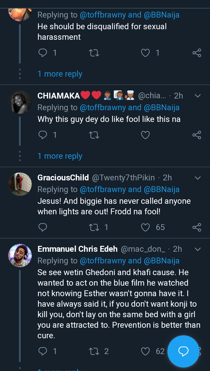 Screenshot 20190818 1003362 - BBNaija: Nigerians React As Frodd Attempts To Forcefully Have Sex With Esther (Video)