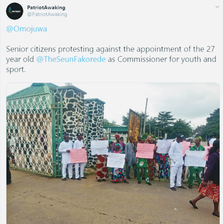 Screenshot 20190822 1432222 - Senior Citizens Protest Appointment Of 27-Year-Old Commissioner In Oyo
