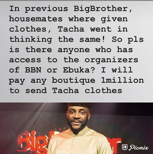 Jaruma wants to send Tacha clothes