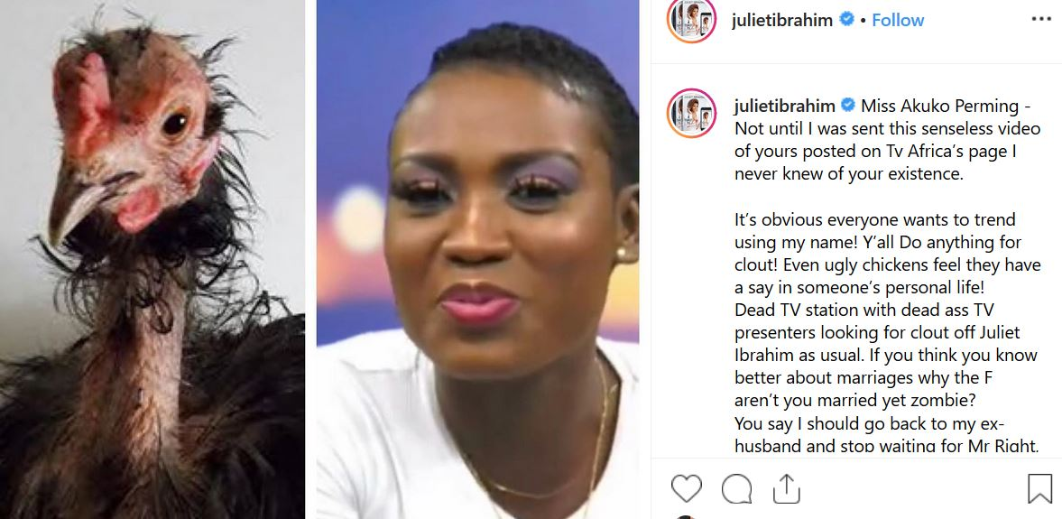 juliet ibrahims post - Juliet Ibrahim Attacks TV Presenter For Advising Her To Return To Her Ex-Husband