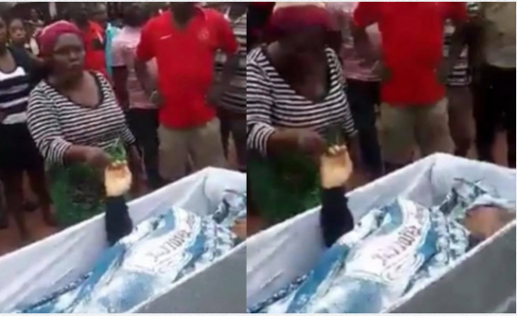Lady accused of killing her neigbour swears at her grave