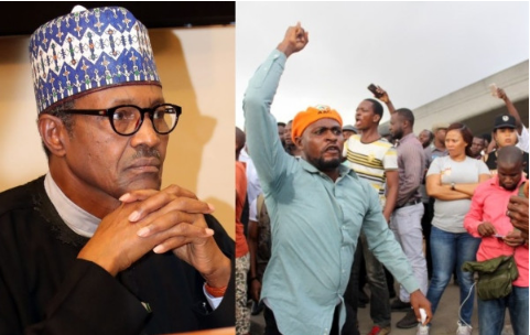 Photo Collage of President Buhari and a protest scene