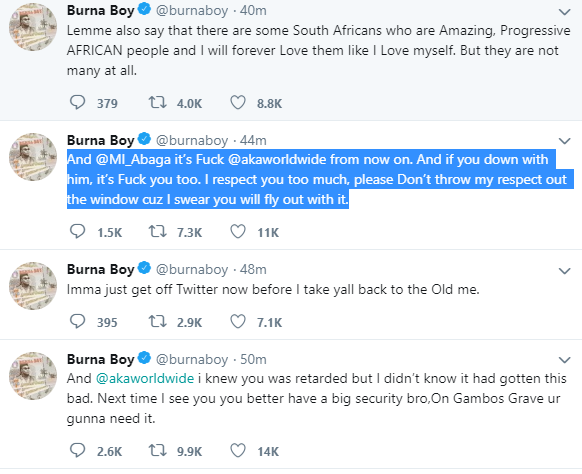 Burna Boy Tweet