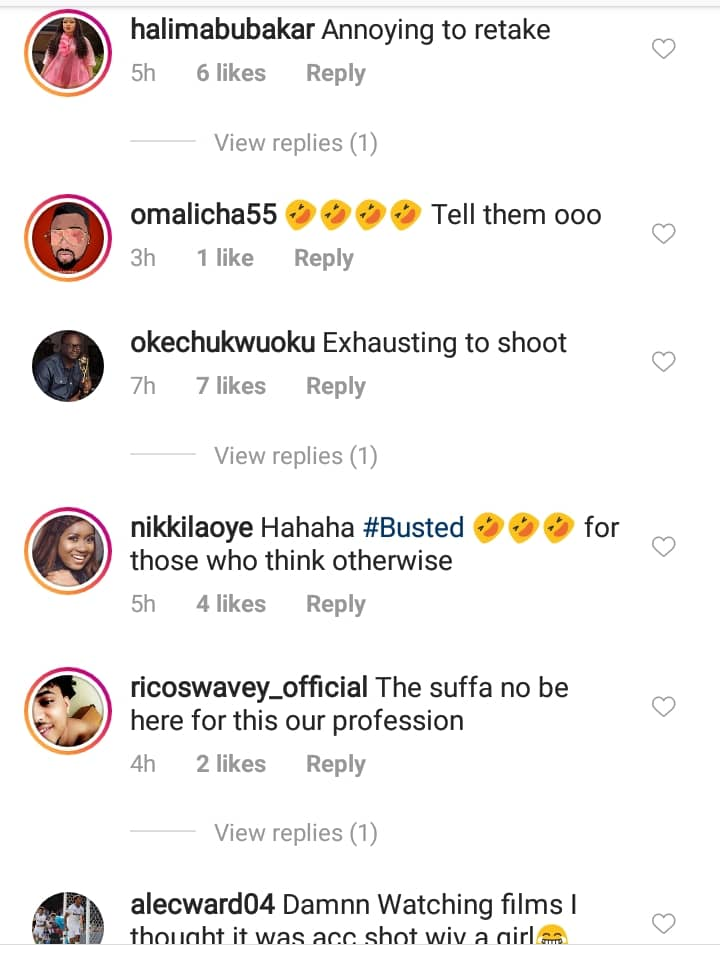 The actor's comment section
