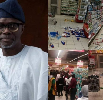 College photo of Sanwo-olu and scene from a protest