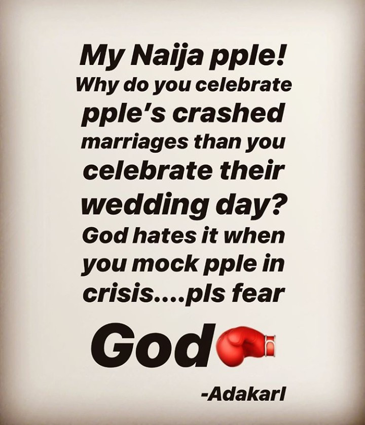 5d78eeb118026 - 'Why Do Nigerians Enjoy Celebrating Crashed Marriages?' – Ada Slim Asks