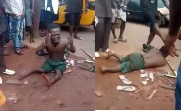 5d7e3f6fd77c0 1 - [Video]: Dwarf Severely Beaten Over Missing Penis In Enugu
