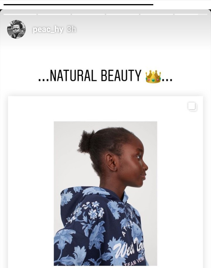 5d8530a58033f - Peace Hyde Reacts To H&M Using A Black Child Model Without Styling Her Hair