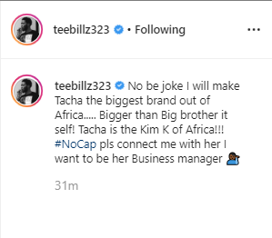 Teebillz IG post