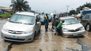 A bad road section in Lagos