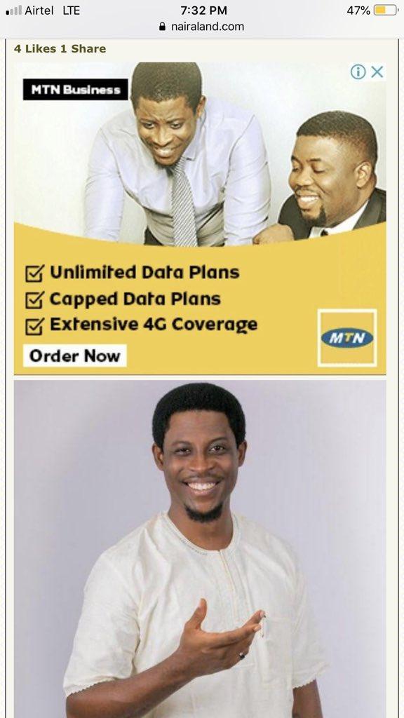 Seyi Awolowo on an MTN advert