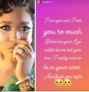 IMG 20190920 224621 448 292x300 - Your Ego Wouldn't Let Me Tell You How Much I Miss You: Tonto Dikeh Tells Bae