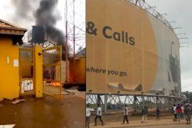 Protesters Burn MTN Abuja mast
