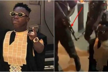 Shatta Bandle Storms Lagos Event With Heavily Armed Policemen (Video)