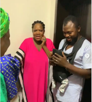 Toyin Abraham while she was given teh surprise
