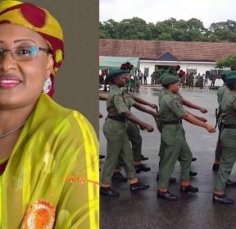 Collage photo of Aisha Buhari and female military operatives