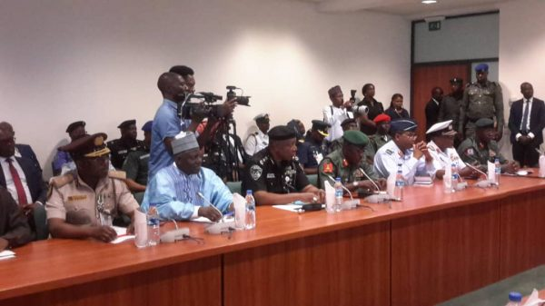 The Speaker House of Representatives, Femi Gbajabiamila and other members of the House during their meeting with the Service Chiefs on Monday,