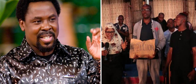 Collage photo of T.B Joshua and the returnees