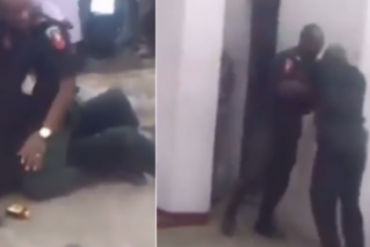 Two Nigerian Policemen Fight In Public (Video)