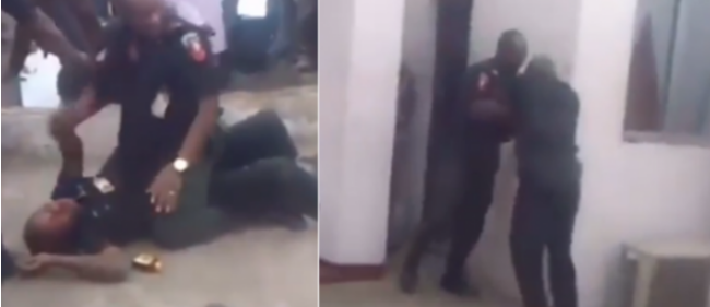 The policxemen fighting in public