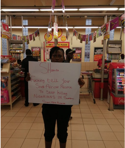 The woman staging the protest at Shoprite