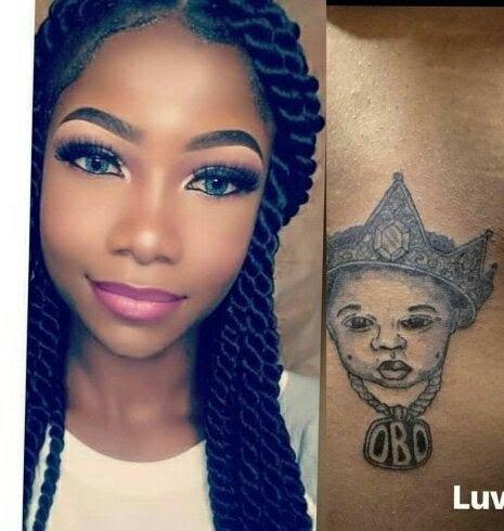 Tacha and her tatoo