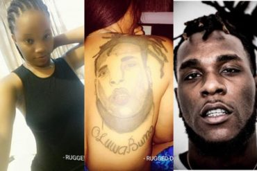 Nigerian Lady Tattos Burna Boy's Face On Her Back