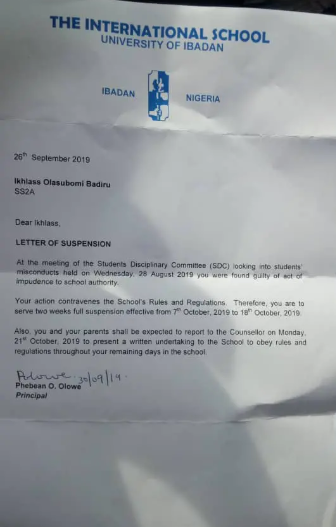 5d95b04c451a8 - UI International School Suspends Student For Wearing Hijab (See Letter)