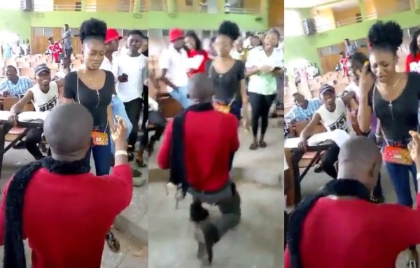 Lady slaps man who proposed to her