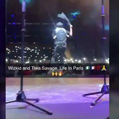 Wizkid, Tiwa Savage Share Kiss On Stage In Paris (Video)