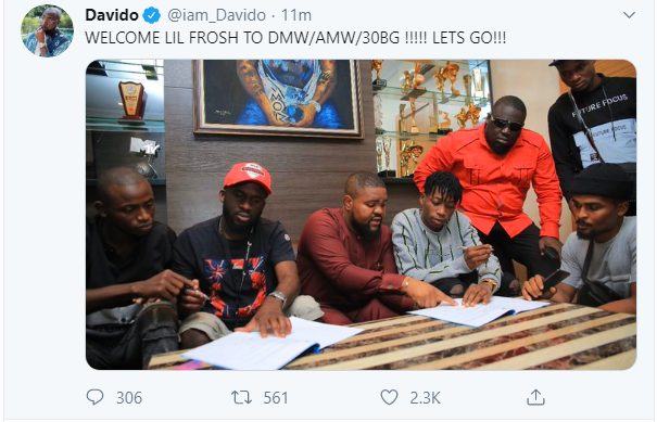 Lil Frosh signs to DMW