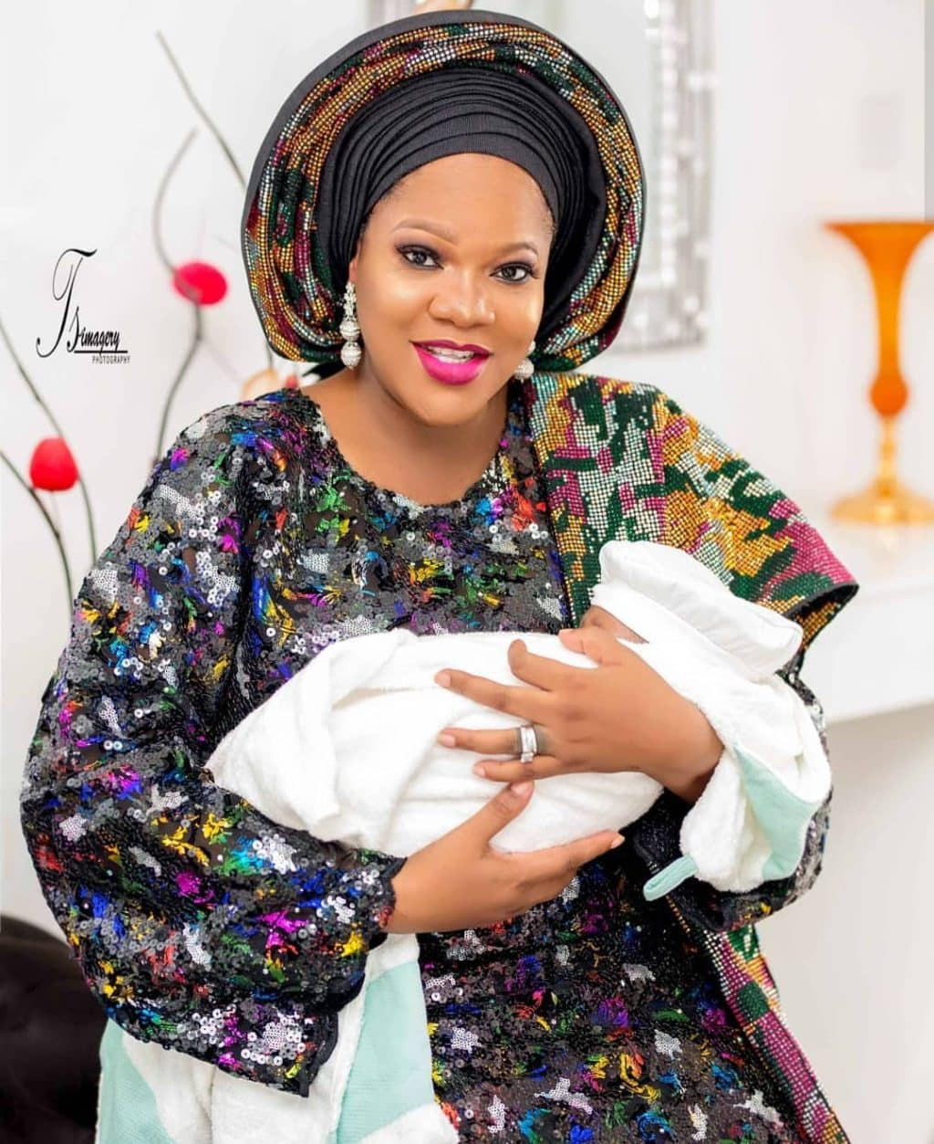 Toyin Abraham and her baby