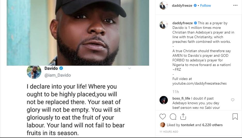 Capture 44 - 'Davido's Prayer Is More Christian Than That Of Adeboye – Daddy Freeze