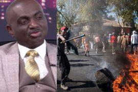Nigerian consul general, Godwin Adama, and a scene from xenophobia attack