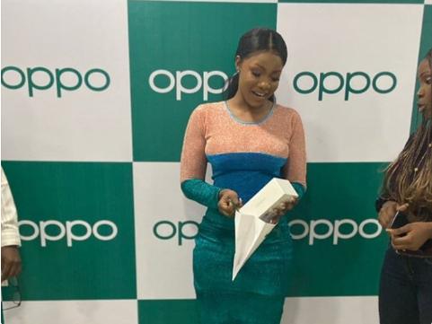BBNaija: Oppo Mobile Gifts Tacha Andriod Phone