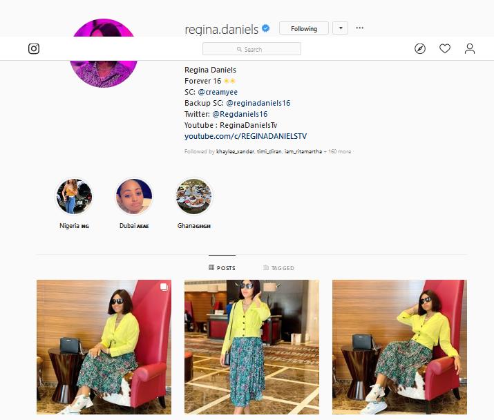 Regina Daniels Re-activates Her Instagram account