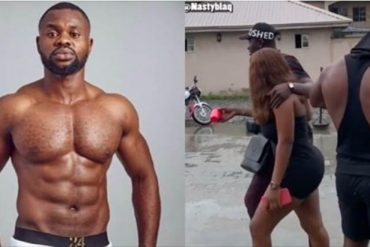 Ex-BBNaija Housemate, Kemen Slammed For Tapping Lady's Bum In Comedy Skit