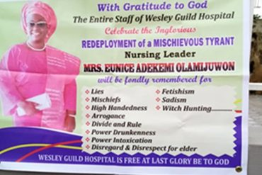 Hospital Staff Celebrate Redeployment Of Mischievous, Fetish, Arrogant Boss In Osun
