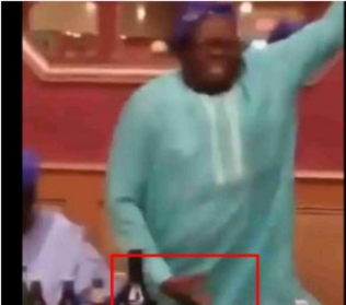 The Nigerian father while dancing 'soapy.'