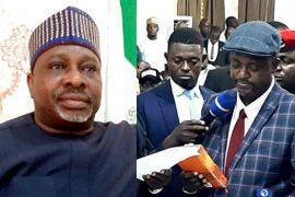 Embattled Simson Achuba and new deputy governor of Kogi state, Onoja