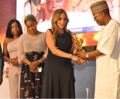 Leila while receiving the award on behalf of Ned Nwoko