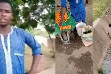 Carrot Seller Caught Washing His Goods With Water From The Gutter