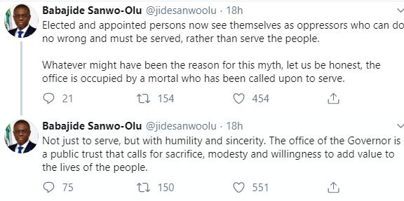Sanwo-Olu tweets