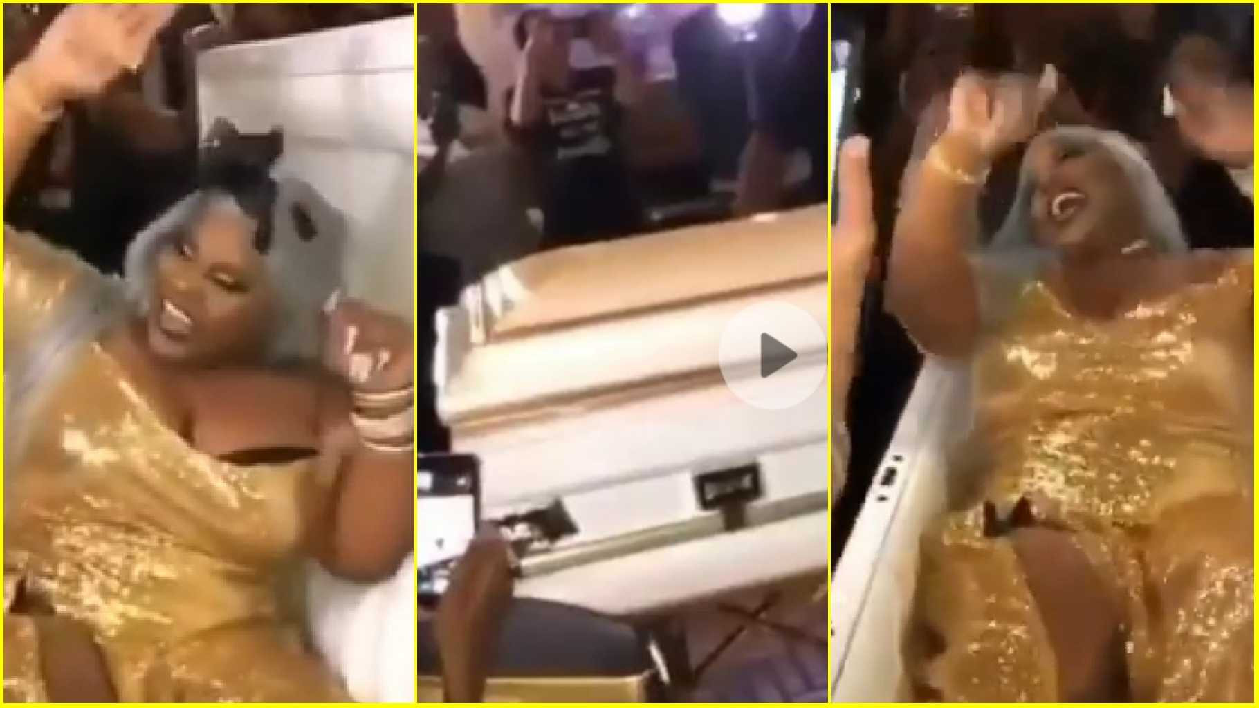Bride arrives her wedding in a coffin