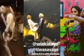 Wizkid and Tiwa Savage while performing at the One Africa Music Festival in Dubai