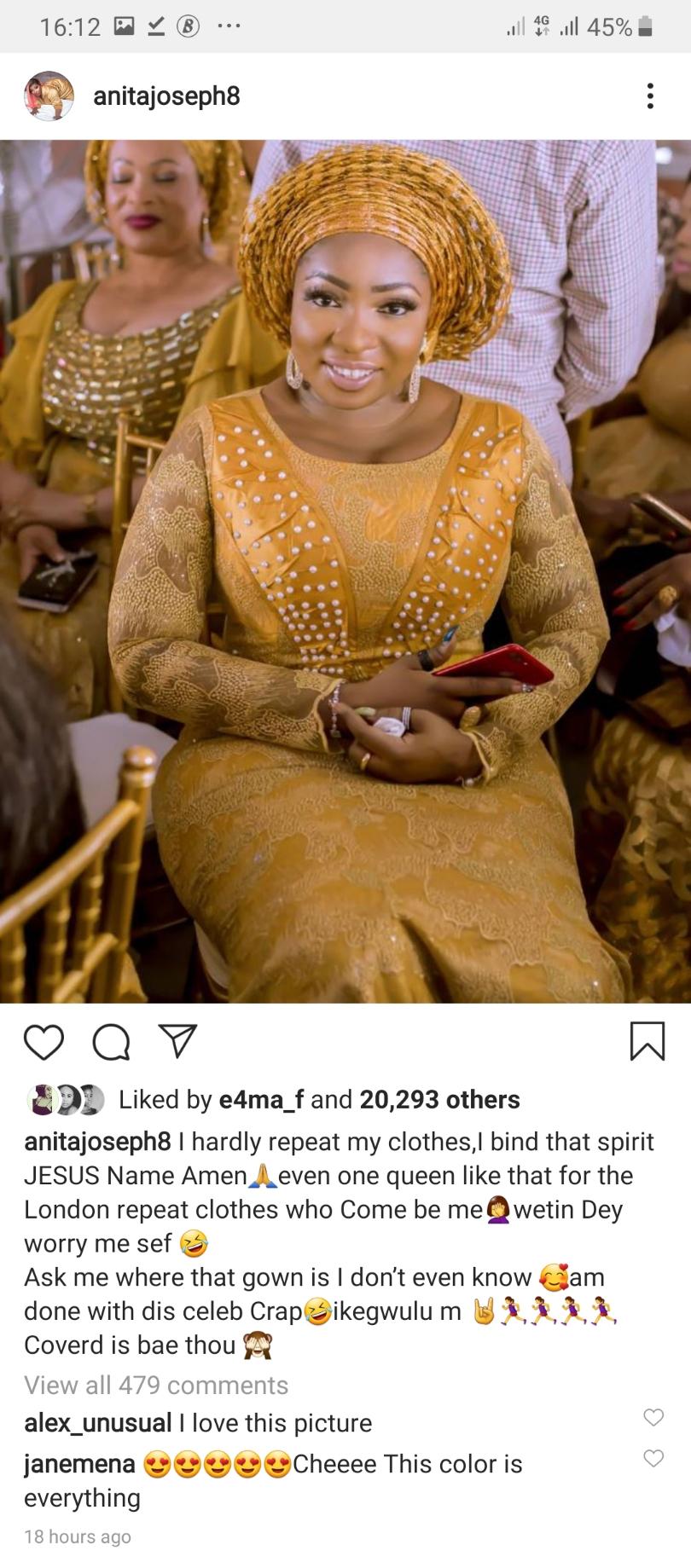 Screenshot 20191111 161202 Instagram - I Hardly Repeat Cloths, Says Nollywood Actress Anita Joseph