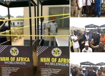 NBM Donating the iron shelters to Osun traffic police