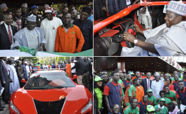 Plateau state governor , Simon Lalung whule inspecting the car