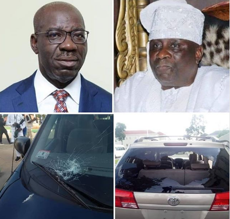 Govenor Obaseki, Oba of Lagos and cars from their convoy