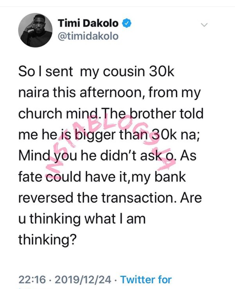 5F839B28 8E20 472F 8A8F 4D4ABFE4E1D4 - Singer, Timi Dakolo Tweets About His 'Entitled' Cousin